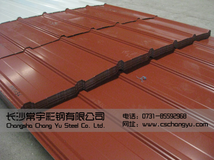 1025型搭接式绯红彩钢瓦(压型板)